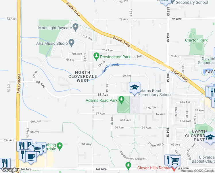 map of restaurants, bars, coffee shops, grocery stores, and more near 18112 68A Avenue in Surrey