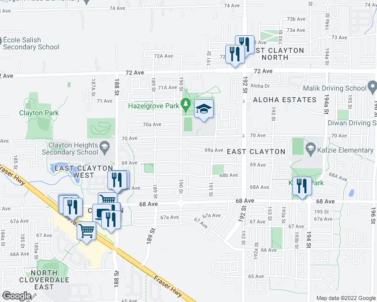 map of restaurants, bars, coffee shops, grocery stores, and more near 19020 69A Avenue in Surrey