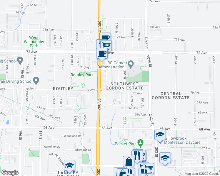 map of restaurants, bars, coffee shops, grocery stores, and more near 200A Street in Langley