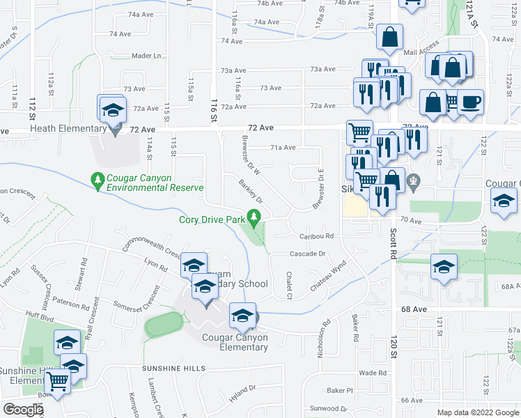 map of restaurants, bars, coffee shops, grocery stores, and more near 7017 Barkley Drive in Delta