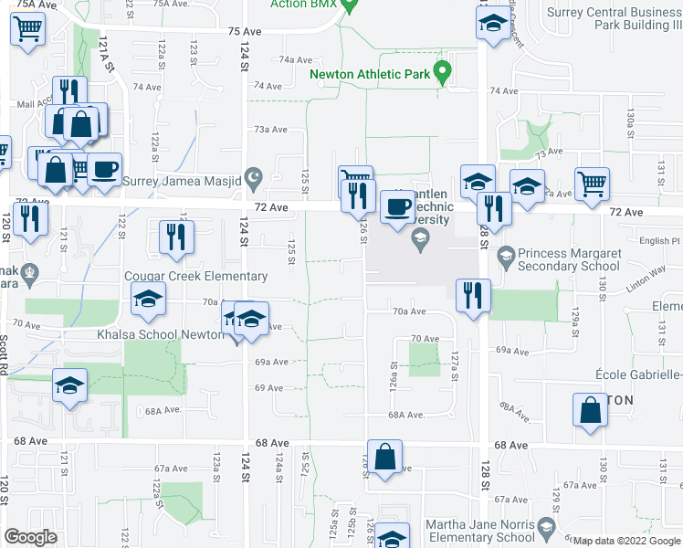 map of restaurants, bars, coffee shops, grocery stores, and more near 7069 125A Street in Surrey