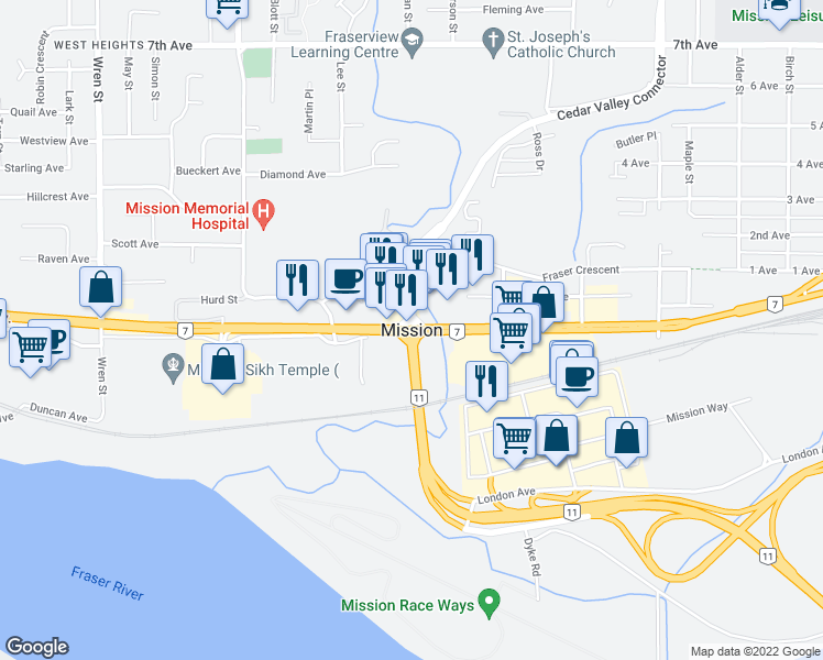 map of restaurants, bars, coffee shops, grocery stores, and more near in Mission