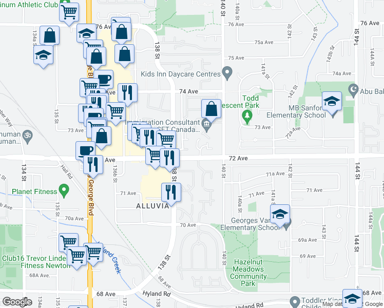 map of restaurants, bars, coffee shops, grocery stores, and more near 101 72 Avenue in Surrey