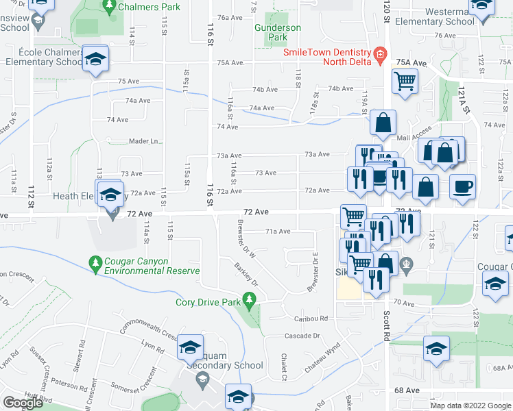 map of restaurants, bars, coffee shops, grocery stores, and more near 11705 72 Avenue in Delta