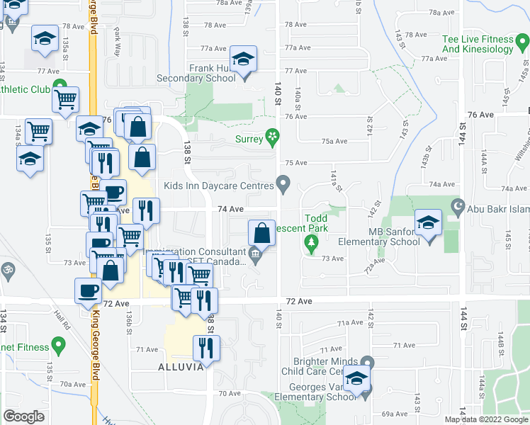 map of restaurants, bars, coffee shops, grocery stores, and more near 13990 74 Avenue in Surrey