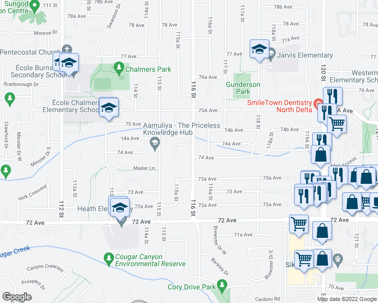 map of restaurants, bars, coffee shops, grocery stores, and more near 7409 116 Street in Delta