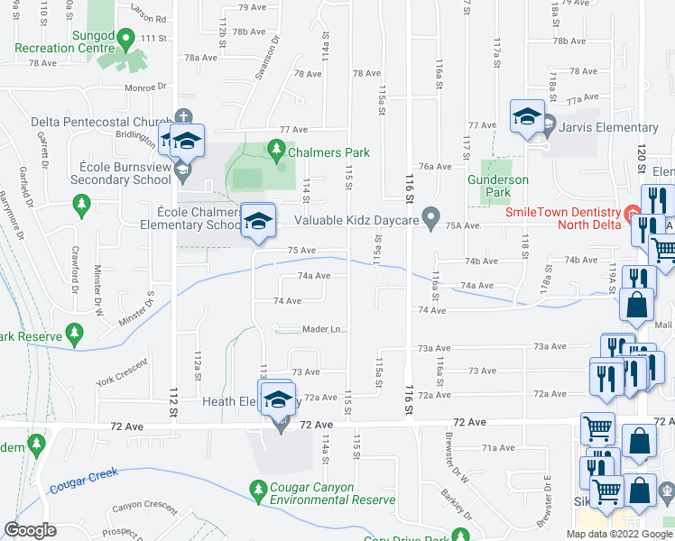 map of restaurants, bars, coffee shops, grocery stores, and more near 11489 74A Avenue in Delta