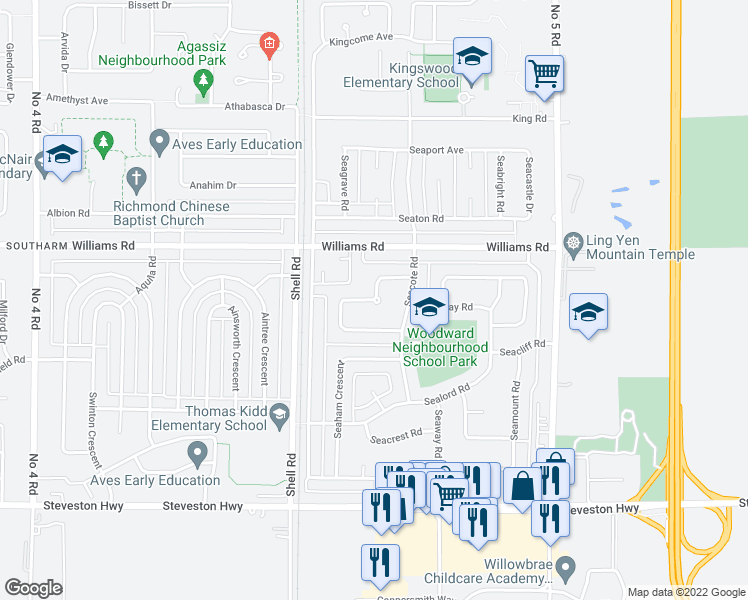 map of restaurants, bars, coffee shops, grocery stores, and more near 11251 Seafield Crescent in Richmond