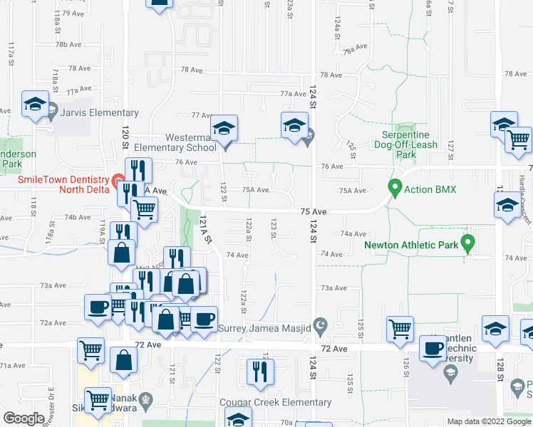map of restaurants, bars, coffee shops, grocery stores, and more near 12300 75 Avenue in Surrey