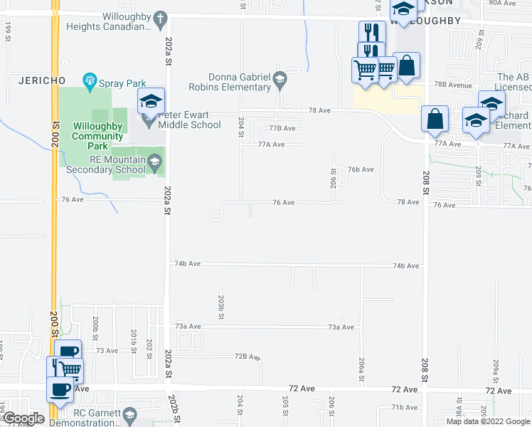 map of restaurants, bars, coffee shops, grocery stores, and more near 20464 76 Avenue in Langley