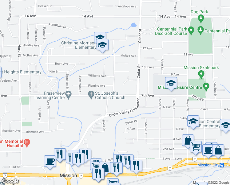 map of restaurants, bars, coffee shops, grocery stores, and more near 7618 Eider Street in Mission