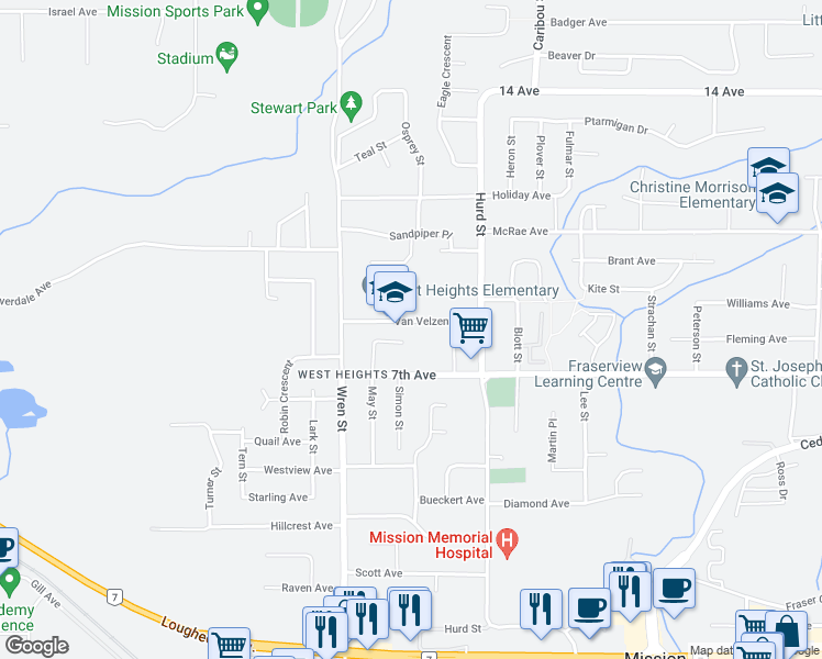 map of restaurants, bars, coffee shops, grocery stores, and more near 32096 Van Velzen Avenue in Mission