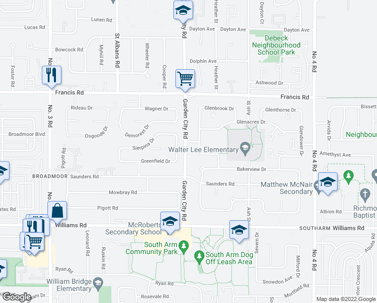 map of restaurants, bars, coffee shops, grocery stores, and more near 9480 Garden City Road in Richmond