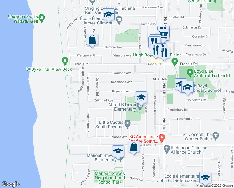 map of restaurants, bars, coffee shops, grocery stores, and more near 3540 Raymond Avenue in Richmond