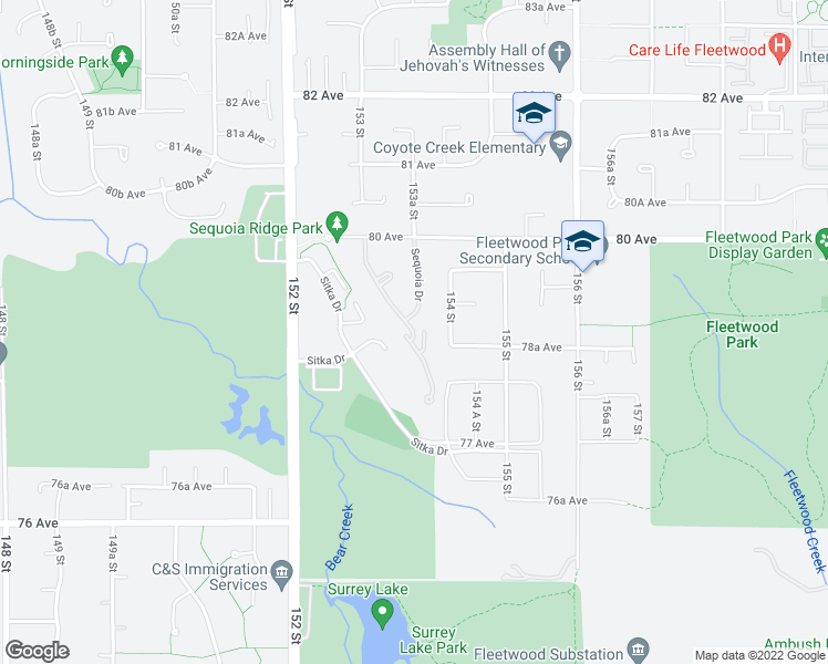 map of restaurants, bars, coffee shops, grocery stores, and more near 15350 Sequoia Drive in Surrey