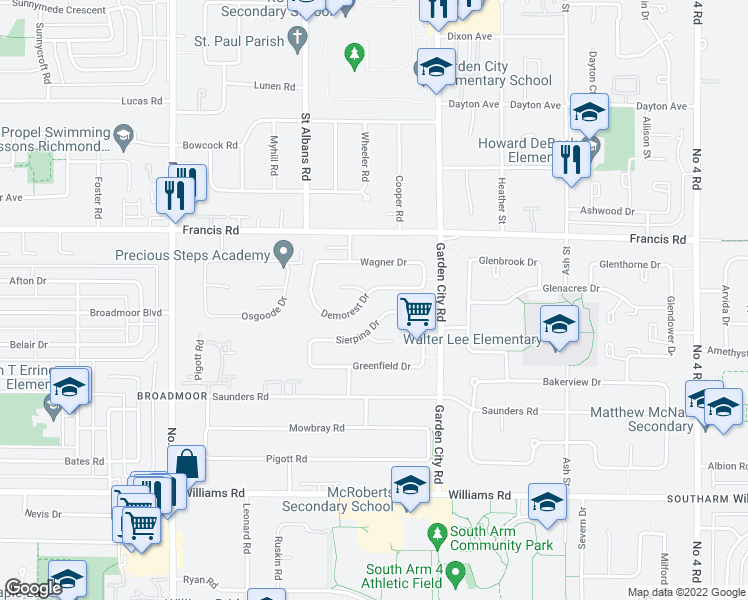 map of restaurants, bars, coffee shops, grocery stores, and more near 8760 Demorest Drive in Richmond