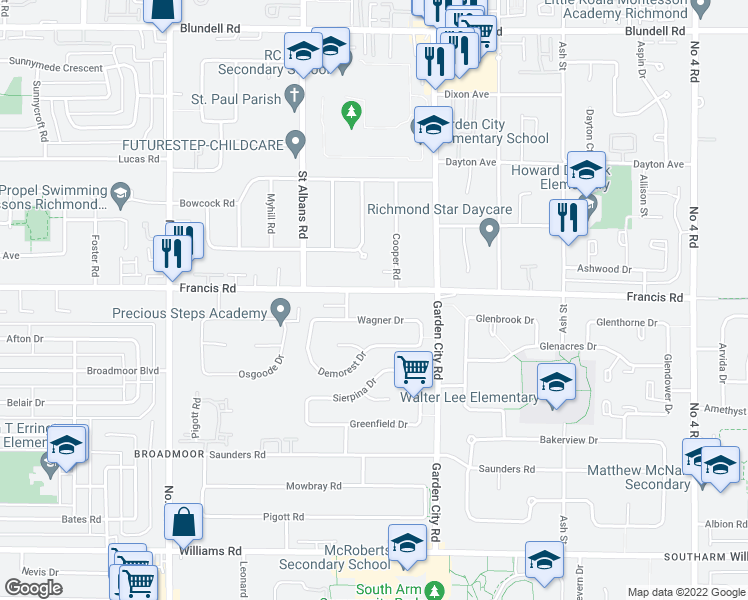 map of restaurants, bars, coffee shops, grocery stores, and more near 8600 Francis Road in Richmond