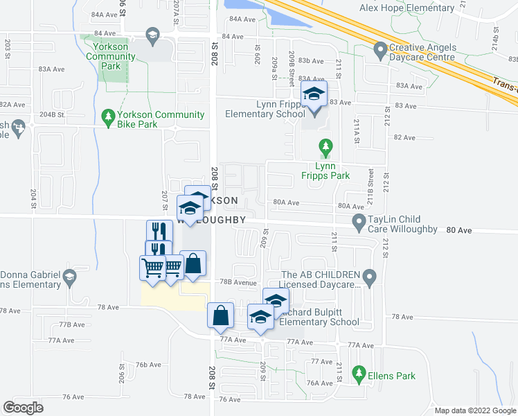 map of restaurants, bars, coffee shops, grocery stores, and more near 2 209 Street in Langley City