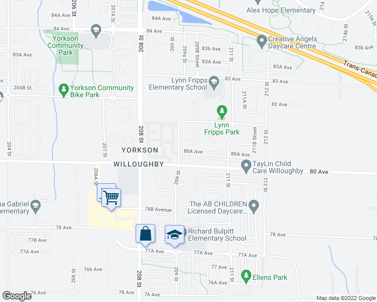 map of restaurants, bars, coffee shops, grocery stores, and more near 20928 80A Avenue in Langley City