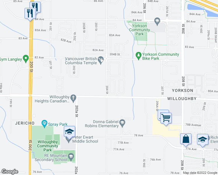 map of restaurants, bars, coffee shops, grocery stores, and more near 8050 204 Street in Langley