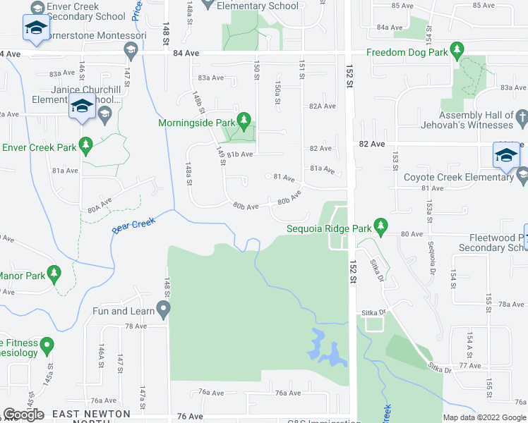 map of restaurants, bars, coffee shops, grocery stores, and more near 8077 150 Street in Surrey