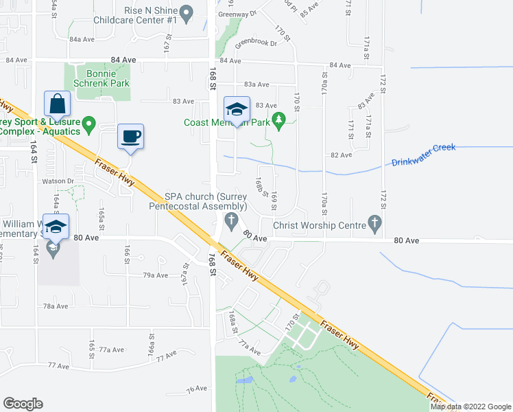 map of restaurants, bars, coffee shops, grocery stores, and more near 8056 168A Street in Surrey