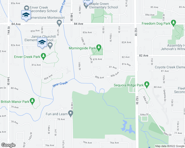 map of restaurants, bars, coffee shops, grocery stores, and more near 14895 80B Avenue in Surrey