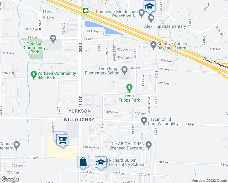 map of restaurants, bars, coffee shops, grocery stores, and more near 8250 209B Street in Langley City