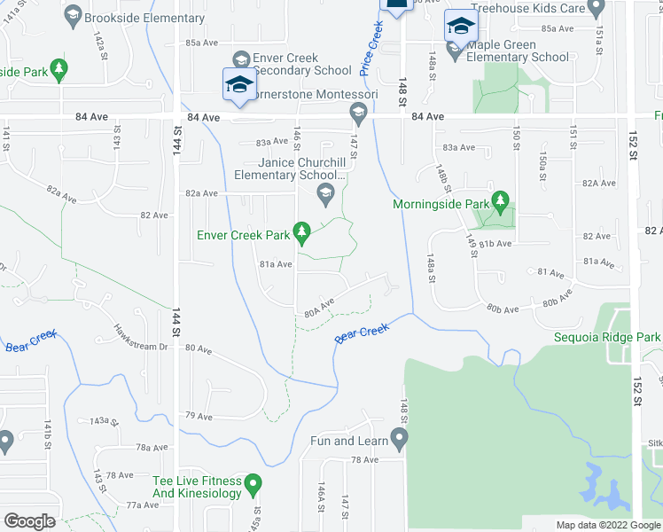 map of restaurants, bars, coffee shops, grocery stores, and more near 14653 81A Avenue in Surrey