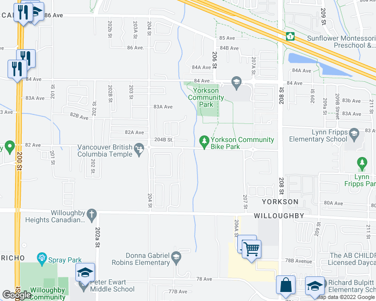 map of restaurants, bars, coffee shops, grocery stores, and more near 20498 82 Avenue in Langley