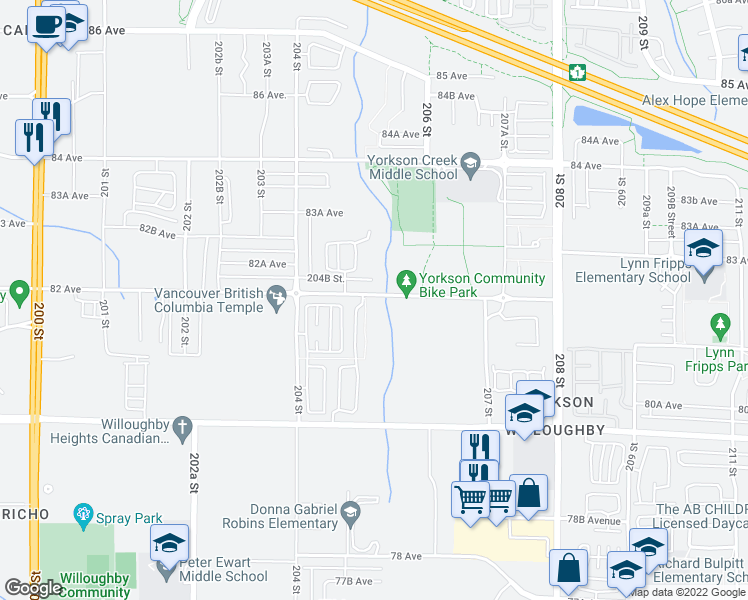 map of restaurants, bars, coffee shops, grocery stores, and more near 20498 82 Avenue in Langley City