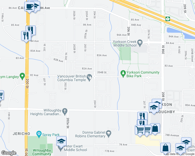 map of restaurants, bars, coffee shops, grocery stores, and more near 8138 204 Street in Langley City