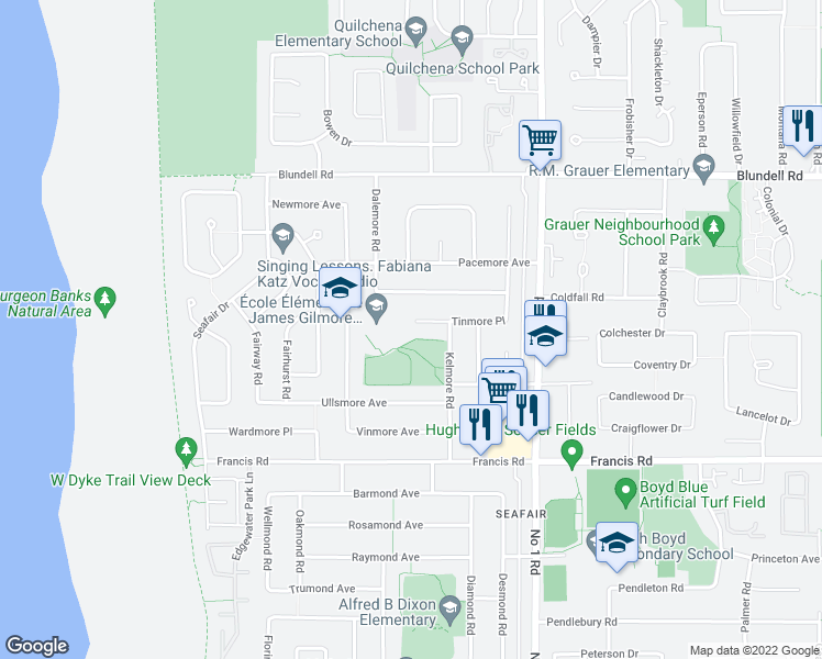 map of restaurants, bars, coffee shops, grocery stores, and more near 3680 Tinmore Place in Richmond