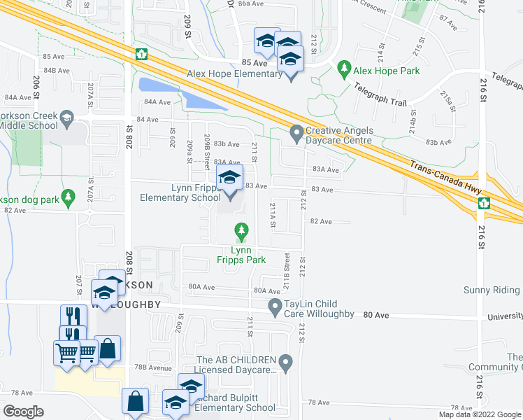 map of restaurants, bars, coffee shops, grocery stores, and more near 8230 211 Street in Langley City