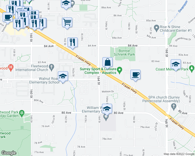 map of restaurants, bars, coffee shops, grocery stores, and more near 16355 82 Avenue in Surrey