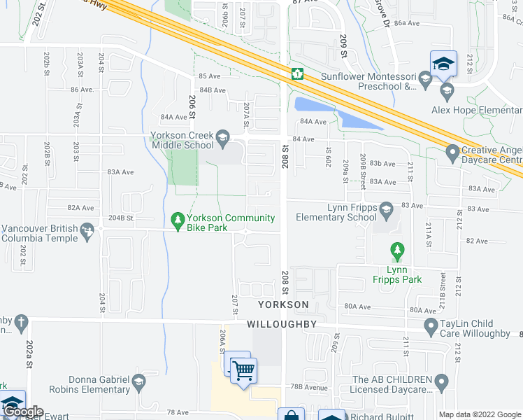 map of restaurants, bars, coffee shops, grocery stores, and more near 8258 207A Street in Langley City