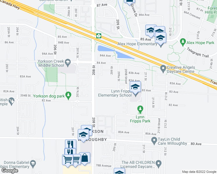 map of restaurants, bars, coffee shops, grocery stores, and more near 20861 83 Avenue in Langley