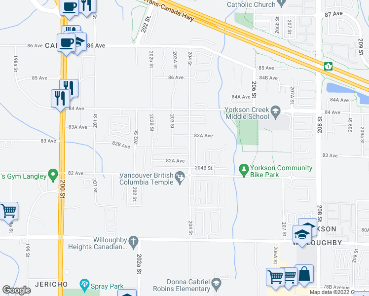 map of restaurants, bars, coffee shops, grocery stores, and more near 20353 82B Avenue in Langley City