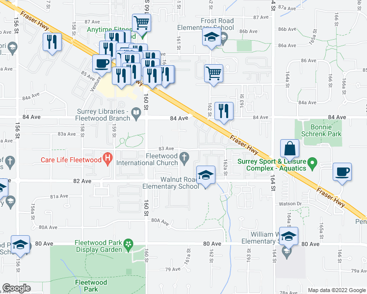 map of restaurants, bars, coffee shops, grocery stores, and more near 16137 83 Avenue in Surrey