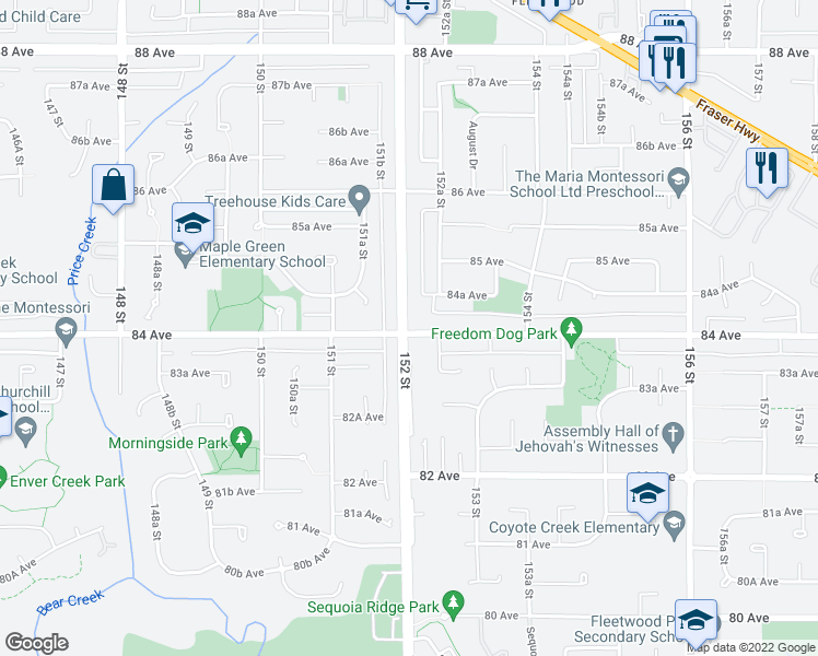 map of restaurants, bars, coffee shops, grocery stores, and more near 8406 152 Street in Surrey
