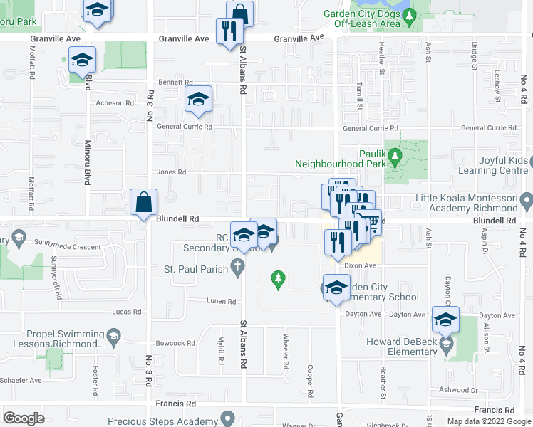 map of restaurants, bars, coffee shops, grocery stores, and more near 8511 Blundell Road in Richmond