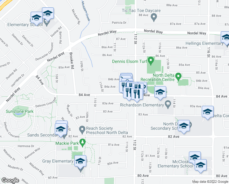 map of restaurants, bars, coffee shops, grocery stores, and more near 11089 84 Avenue in Delta