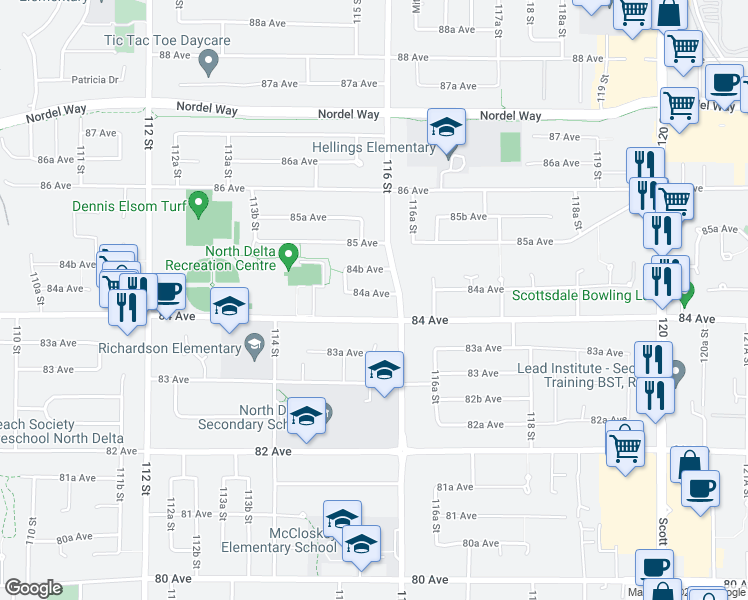 map of restaurants, bars, coffee shops, grocery stores, and more near 11528 84A Avenue in Delta