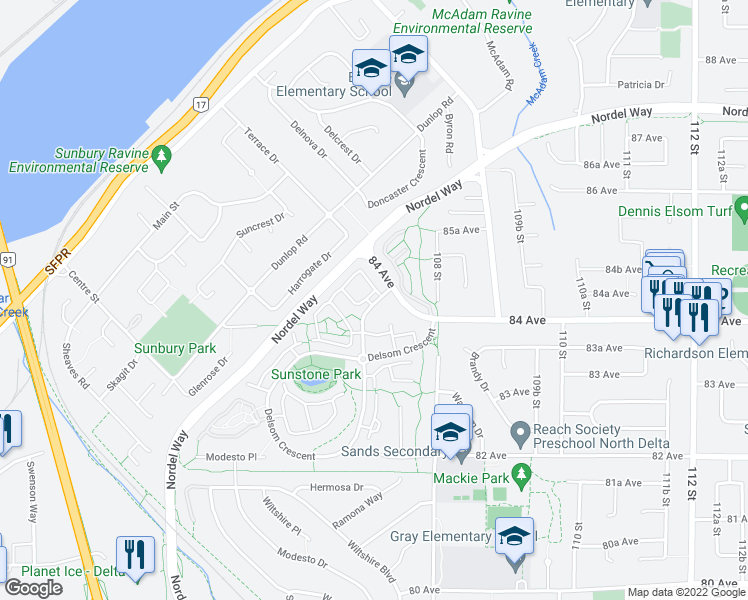 map of restaurants, bars, coffee shops, grocery stores, and more near 8385 Delsom Way in Delta
