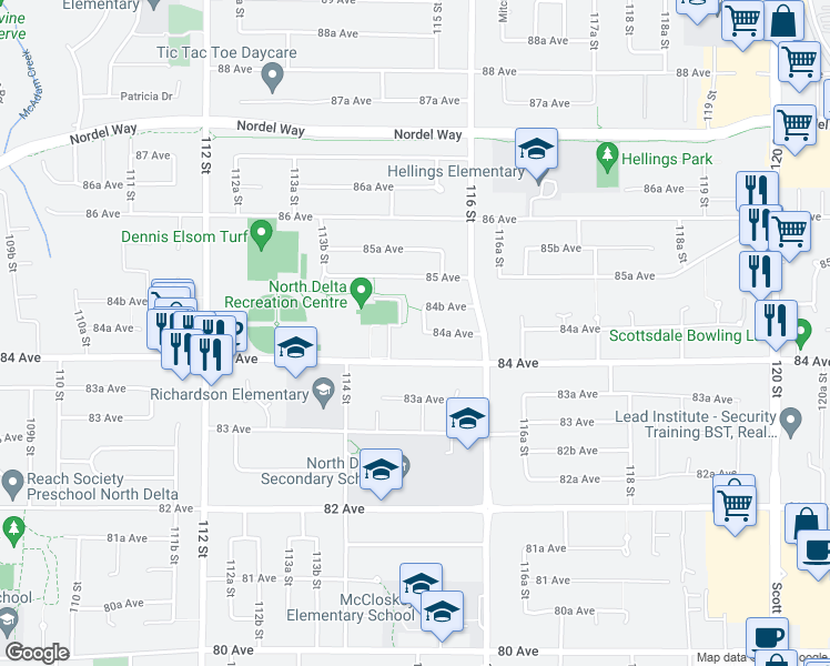 map of restaurants, bars, coffee shops, grocery stores, and more near 8447 115 Street in Delta