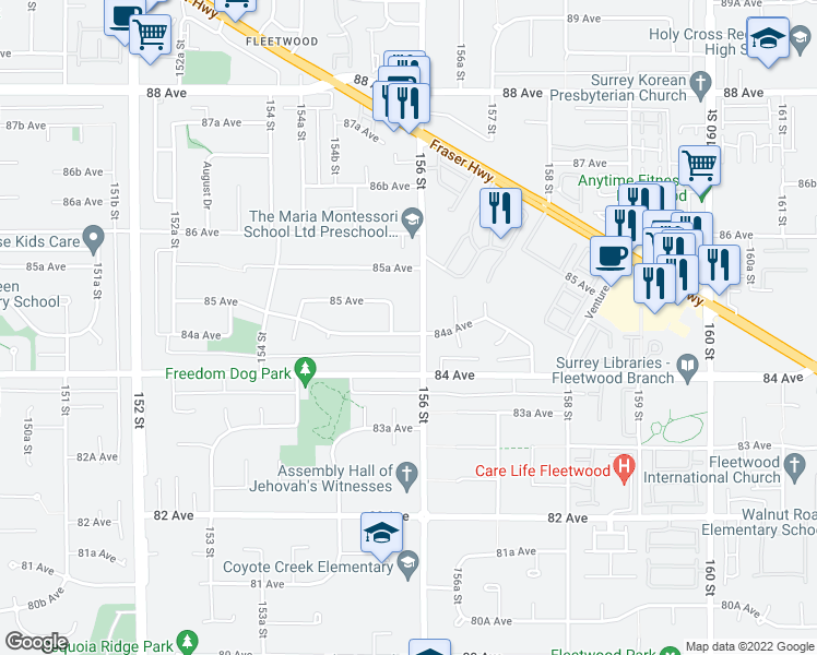map of restaurants, bars, coffee shops, grocery stores, and more near 15581 84A Avenue in Surrey