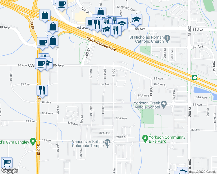 map of restaurants, bars, coffee shops, grocery stores, and more near 8567 204 Street in Langley City