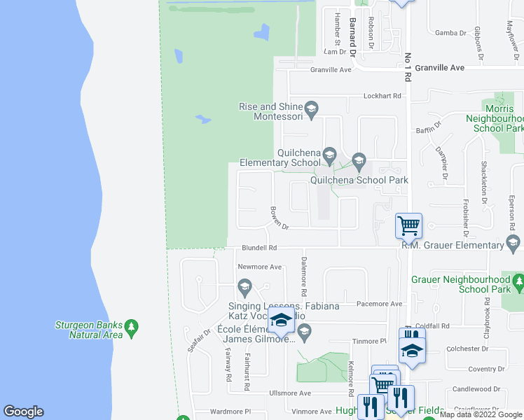 map of restaurants, bars, coffee shops, grocery stores, and more near 3140 Saltspring Court in Richmond