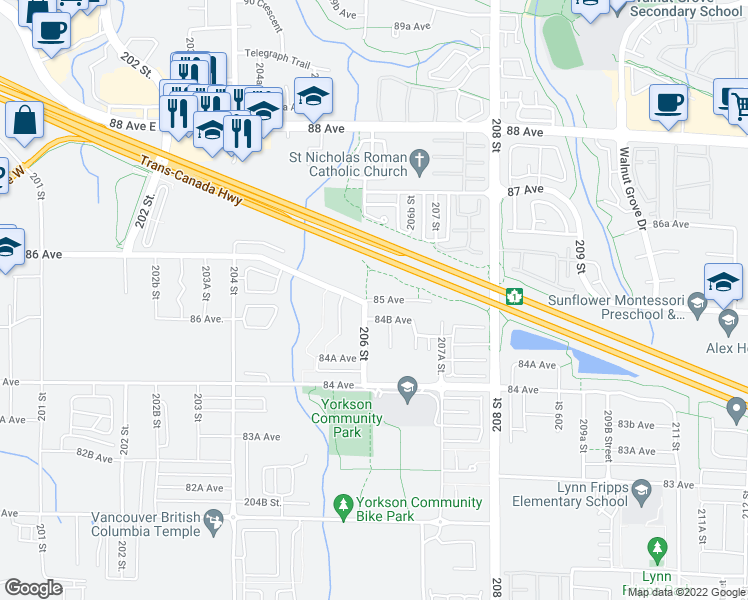 map of restaurants, bars, coffee shops, grocery stores, and more near 20325 85 Avenue in Langley City