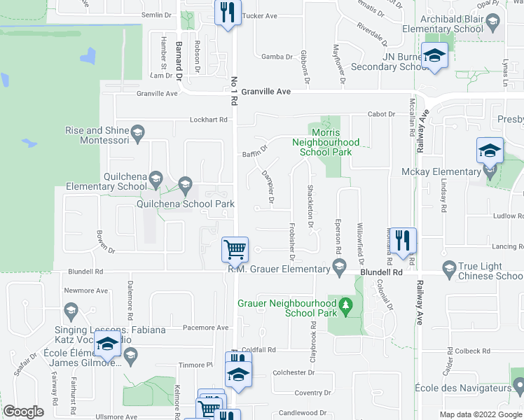 map of restaurants, bars, coffee shops, grocery stores, and more near 4060 Burton Avenue in Richmond
